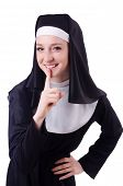 picture of nun  - Nun isolated on the white background - JPG