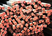 foto of cross-section  - long metal bars of square cross section of small size - JPG