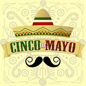 stock photo of mexican fiesta  - Cinco De Mayo Moustache Vector Illustration with Mayan Inspired Background - JPG