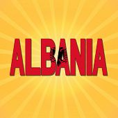 picture of albania  - Albania flag text with sunburst illustration - JPG