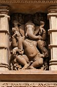 stock photo of stone sculpture  - Stone carved sculpture of god Ganesha on Lakshmana temple - JPG