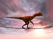 image of dinosaurus  - Concept or conceptual abstract business metaphor as wild heavy dinosaurus balancing on rope over sunset sky background - JPG