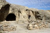 picture of gory  - Entrance to ancient house in cave town Uplistsikhe 10 kilometers east of Gori town  - JPG