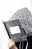 pic of midterm  - College student studies notes from marble notebook - JPG