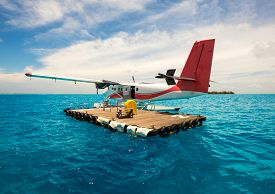 image of float-plane  - Seaplane for tourists Maldives indian ocean - JPG
