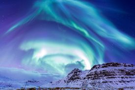 picture of marshes  - The Northern Light Aurora borealis at Kirkjufell Iceland - JPG