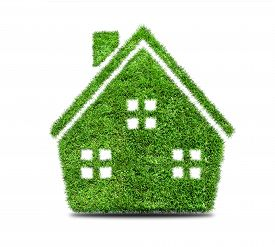 picture of ecology  - Grass home icon isolated on white background - JPG