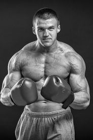 image of boxing  - The man in boxing gloves - JPG