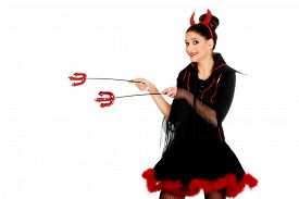 picture of trident  - Beautiful devil woman pointing aside with trident - JPG