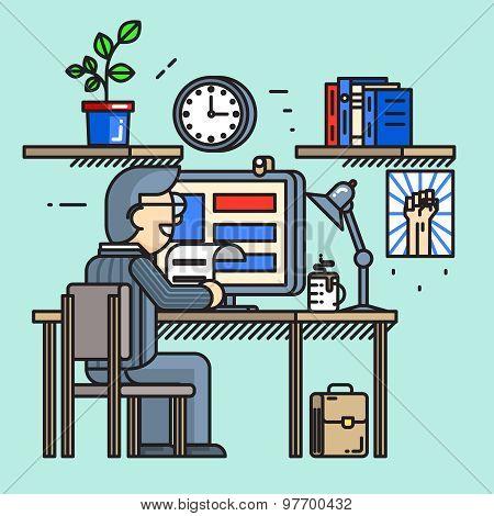 Modern creative office desk worker in line flat style