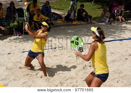 MOSCOW, RUSSIA - JULY 18, 2015: Joana Cortez (left) and Samantha Barijan of Brazil in the semifinal match of the Beach Tennis World Team Championship against Russia. Russia won the match 2-1