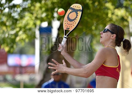 MOSCOW, RUSSIA - JULY 17, 2015: Rosa Sitja of Spain in the match of ITF Beach Tennis World Team Championship against Venezuela. Spain won the match 2-1