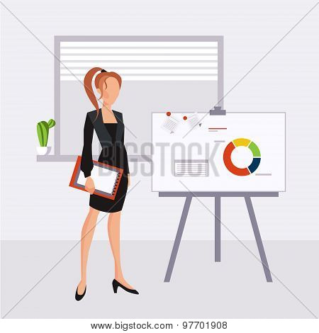 beautiful young business woman presenting with a pointer and board