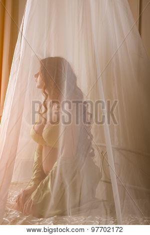 Beautiful young pregnant woman sitting in bed at home