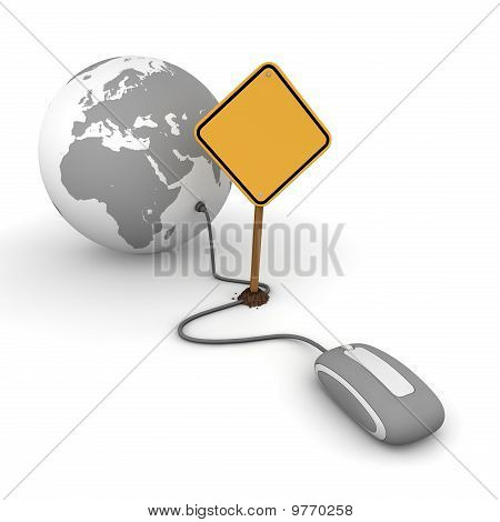 Surfing The Web In Grey - Blocked By A Yellow Warning Sign