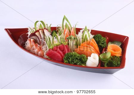 Sashimi Set Isolated On White Background, Japanese Delicacy Consisting Of Very Fresh Raw Meat Or Sea