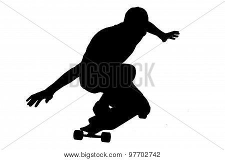 Silhouettes Of Skater Boy.