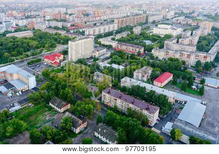 Aerial view on Minskaya street. Tyumen. Russia