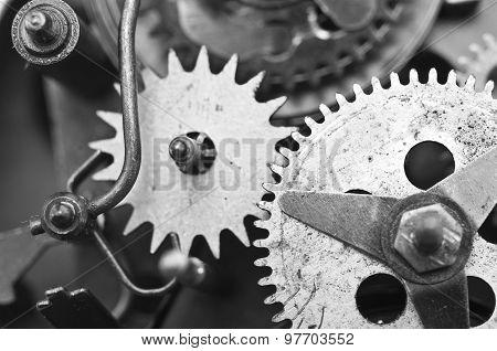 Black White Cogwheels Clockwork. Macro