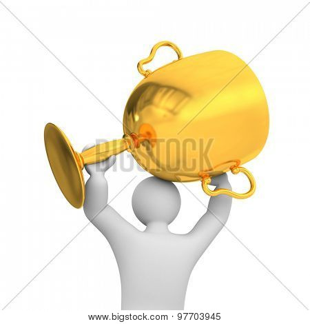 3d person hold gold cup. Success metaphor