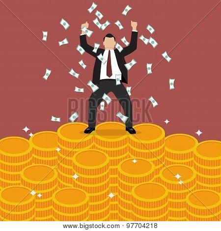 Businessman Celebrates On Money Staircase