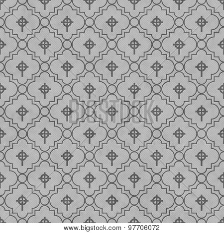 Gray Celtic Cross Symbol Tile Pattern Repeat Background