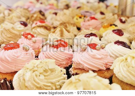 close up of frosted cupcakes ready to eat