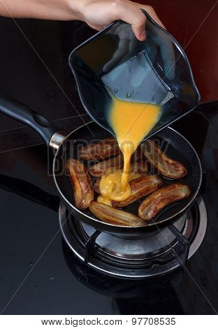 Cooking Process Of Fried Bananas With Scrambled Eggs
