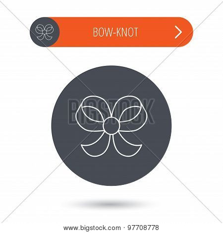 Bow icon. Gift bow-knot sign.