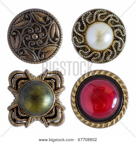 Various Sewing Buttons Isolated On White With Clipping Path