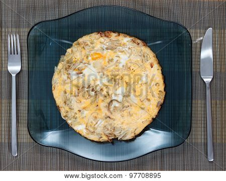 Omelette With Fried Eggs, Sprouts And Onions