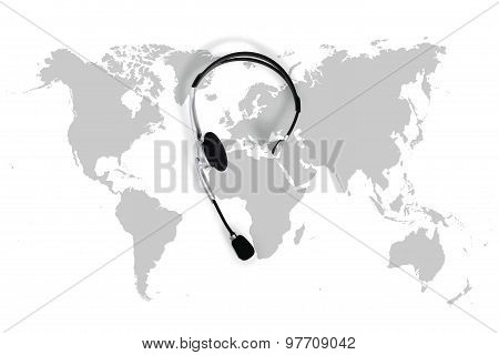 International Contact Concept , Top View Desk With Headset And Map