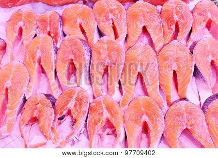 salmon fillets fishmonger market