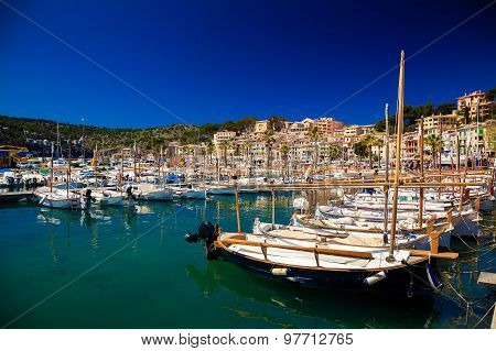 Mooring Line With Boats And Yachts In Port De Soller