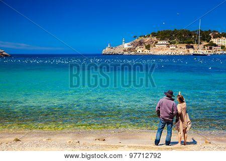 Couple Enjoying Beautiful View Of The Harbour Of Port De Soller