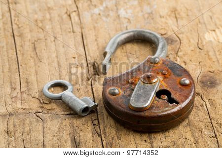 Open Antique Padlock With Key