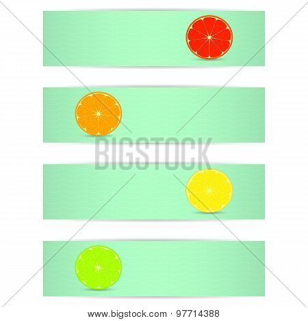 Four Bright Banner With Stylized Citrus Fruits