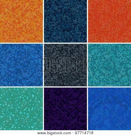 Set Background Abstract Mosaic Of The Pixel Pattern Grid And Colored Squares