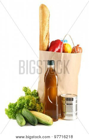 Paper bag with food isolated on white
