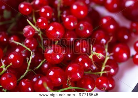 Ripe red currants on table, closeup