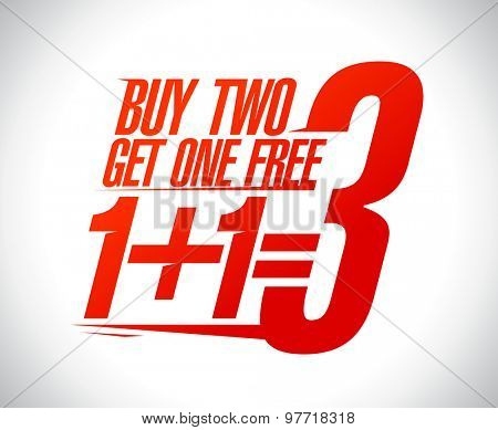 1+1=3 sale design illustration.