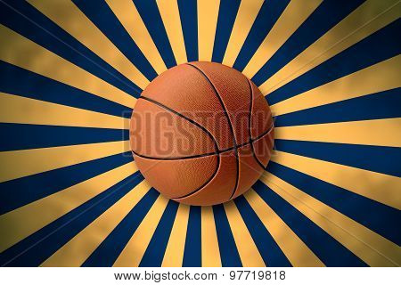 Basketball On Retro Starburst