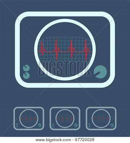 Display With Cardiogram Icon Medical Survey Test