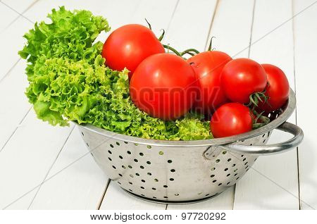 Fresh Lettuce And Two Kinds Of Tomatoes