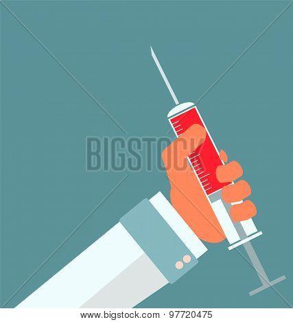 Medical Syringe In Doctor Hand