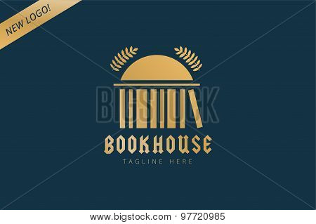 Book house template logo icon. Back to school. Education, university, college symbol or knowledge, b