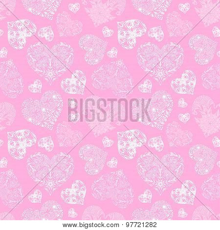 Openwork seamless pattern of hearts