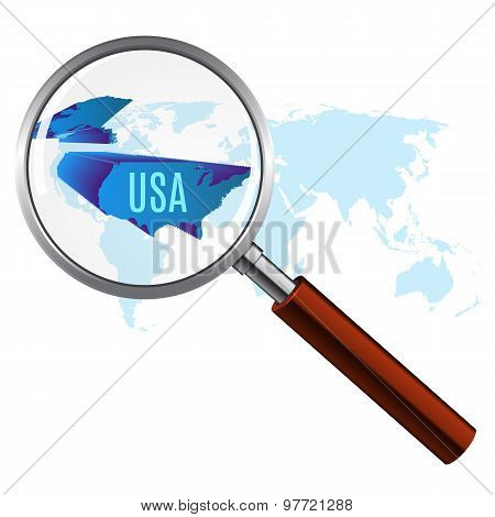 World map with usa magnified by loupe