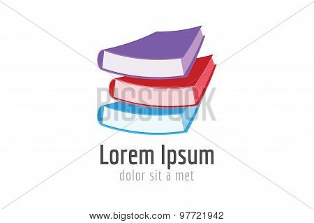 Book template logo icon. Back to school. Education, university, college symbol or knowledge, books s