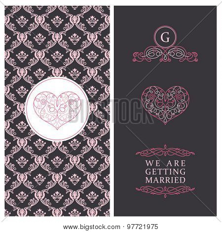 Vintage vector card templates. Wedding, married, save the date, baby, mothers day, valentines day, birthday cards, invitations. Seamless pattern is background